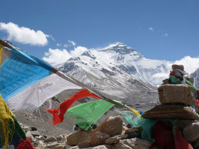 Mount Everest from Base Camp. Click on photo to enlarge.