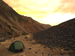 A perfect spot to camp away from the road, and a spectacular sunset in Rio Santa, Colombia.