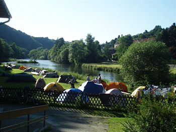 Camping by the River Inns near Linz in Austria. Photo by Jim Pearce.