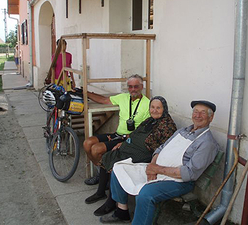 Jim Pearce with the locals in rural Romania.
