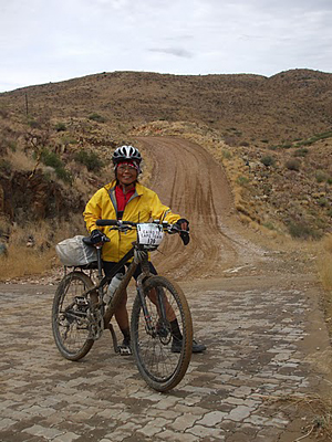 Lani Schultz on a typical dirt road in Namibia.
