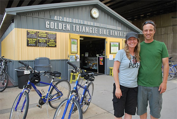 Golden Triangle Bike Rentals proprietors Britt and Tom.