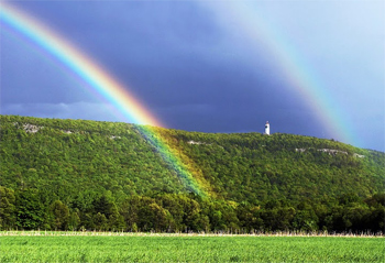 Double rainbow and the Heublen Tower near Simsbury CT.