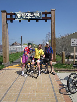 """The trail arch sign reads """"New Haven and Northampton Railroad..the Canal Line."""""""
