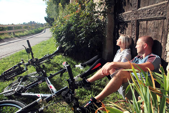 Cyclists enjoy a break.