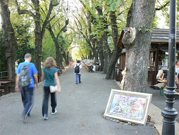 Artists work on display in the Upper part of Zagreb.