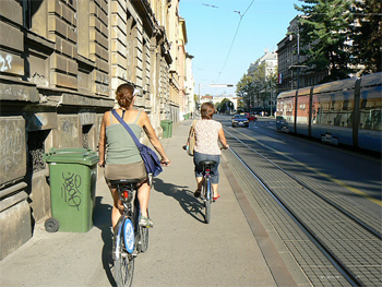 Biking the sidewalks of Zagreb, Croatia.