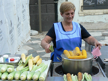 Corn on the cob is served all over Zagreb. Croats don't eat this vegetable at home, only from street vendors like this.