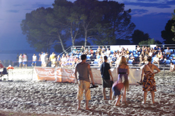 Beach volleyball in Crkveniza at night