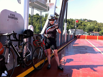 A bike rider on a Great Lakes Ferry during the ride.