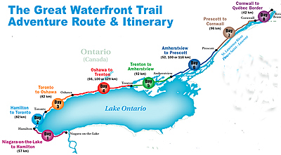 Route map showing the 720 km route of the Great Waterfront Trail Adventure ride this summer.