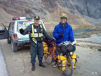 The mining police were nice and gave the author a ride over the tough remaining miles to Ticlio.