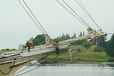 Crewmembers on the bow of the Nathaniel Bowditch.