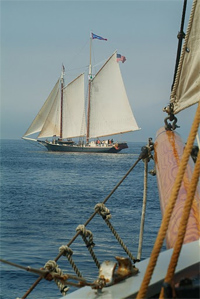 The Stephen Taber off the bow of the Nathaniel Bowditch.