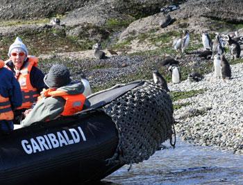 Landing a zodiac boat on Penguin Beach