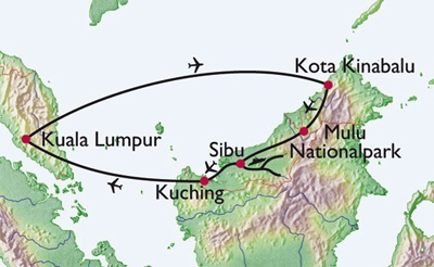 Flights and river travel across Borneo.