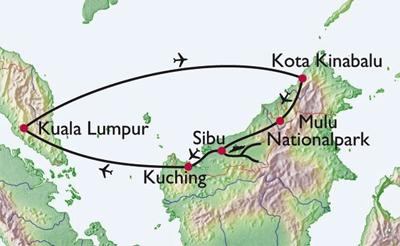 Flights and river travel across Borneo.