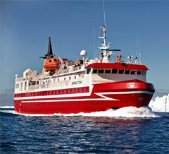 Ferry in Disko Bay, Greenland.