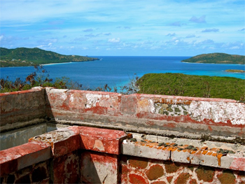 View from the lighthouse of Culebrita harbor.