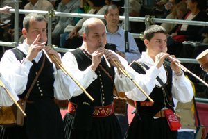 Launeddas are reed instruments a little like bagpipies that are unique to Sardinia, and played at ceremonies and parades.