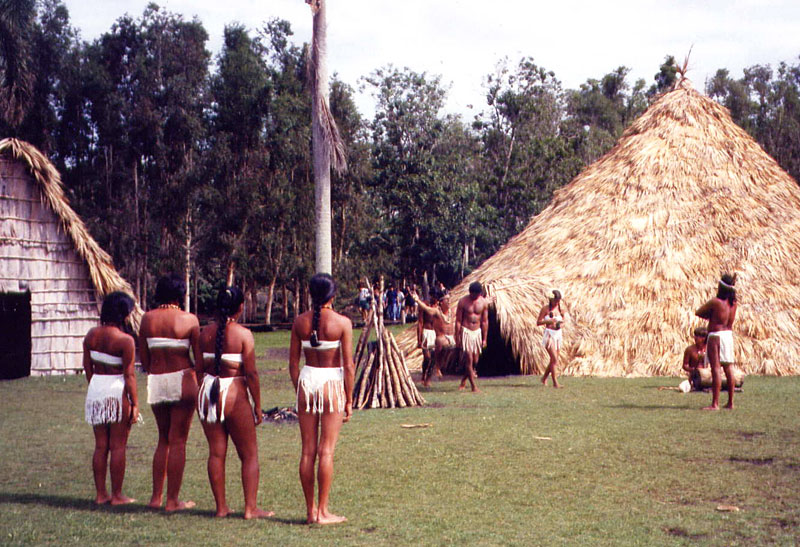 An ancient Taíno Cuba marriage ceremony in the village of Guamá on an island in Treasure Lake in Cuba.
