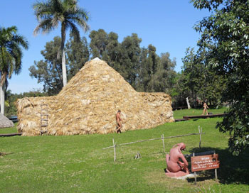 A recreation of an ancient Taino village