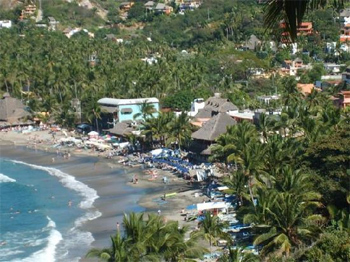 Aerial view of Sayulita Beach in Mexico.