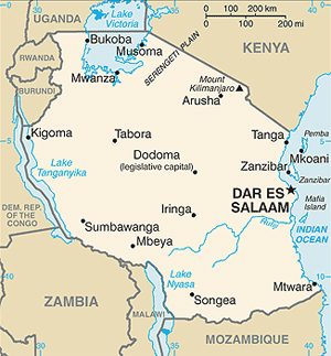 Map of Tanzania showing Zanzibar in the far right corner.
