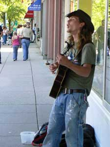 Busking for spare change