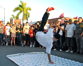 Urban acrobatics on a Little Havana street.