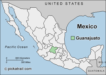 Guanajuato is located in the middle of Mexico. map courtesy of pickatrail.com