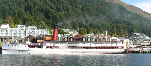 The steamer TSS Earnslaw makes regular trips to High Peak Farm at the end of the lake in Queenstown, NZ. photo by Max Hartshorne.