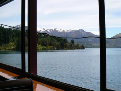 Looking out the window of the TSS Earnslaw steamer, in Queenstown. photo by Max Hartshorne.