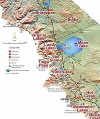 Map of the Bridgeport CA and Mono Lake area.