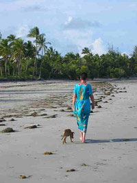 The author walking the beach with her dog. photos by John Parkin and Terry Harnwell.