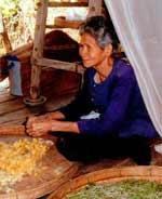 Silk weaver in Isan.