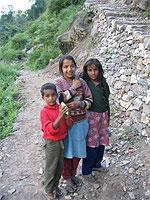 Children on the mountainside.