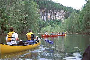 Floating the Buffalo River in the Ozarks of Arkansas.