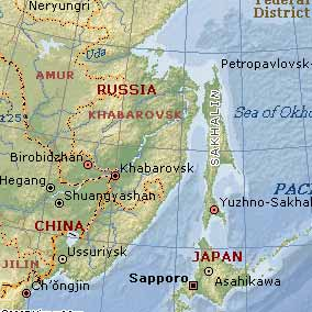 Sakhalin Island is right above Japan, next to the coast of Russia.