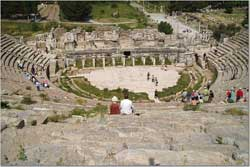 The author saw a German tourist give an impromptu performance at the Great Theater in Ephesus.