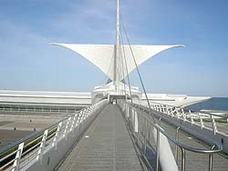 Entrance ramp to the Milwaukee Art Museum, by the lake. photos by Max Hartshorne.