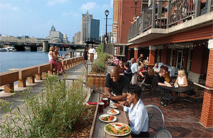 The RiverWalk, ten blocks of shops, restaurants, pubs and a bike walk trail in downtown Milwaukee.
