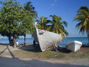 Fishing boats line the shores of Sarteneja Village when the men return from their 10-day stints at sea.
