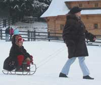 Locals take advantage of the deep snow at Poiana Brasov.