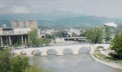 A view of the Vardar River and the Stone Bridge