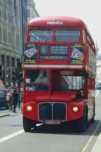 One of London's famous double-decker buses