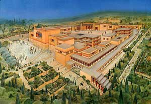 An artist's rendering of the Palace at Knossos courtesy of Minnestoa State University (mnsu.edu)