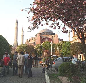 Aya Sophia was a church built by Justinian in 537 AD. A thousand years later it was converted to a mosque and minarets were added.