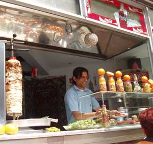 Doner kabobs are sold at 'kebabci' all over the city.