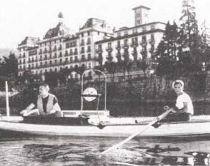 Ernest Hemingway fishing in front of the Grand Hotel des Iles Borromees - photo courtesy of  Grand Hotel des Iles Borromees